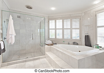 hermoso, moderno, cuarto de baño, en, australiano, mansión