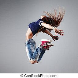 hermoso, moderno, joven, bailarín, posar, plano de fondo, estudio