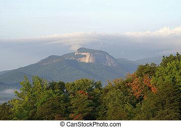 hermoso, montaña, fall., escena, comienzo