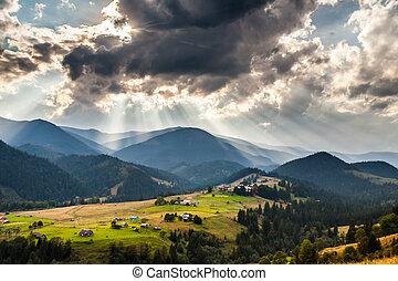 hermoso, montaña, mañana, rayo, luz