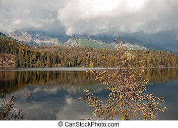 hermoso, montaña, naturaleza, pleso, -, escena, lago, eslovaquia, tatra, strbske
