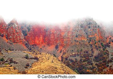 hermoso, montañas, foto, rocas, ardiente, rojo
