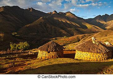 hermoso, montañas, primitivo, aldea, luz