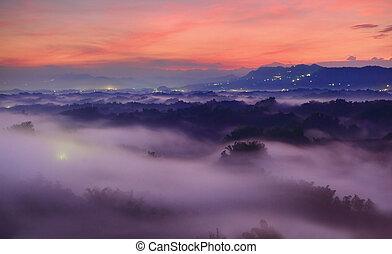 hermoso, montañas, y, nube