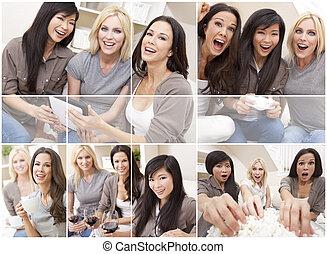 hermoso, montaje, tres, juntos, hogar, amigos, mujeres