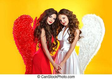 hermoso, morena, ángel, niñas, con, ángel, wings., moda, mujeres