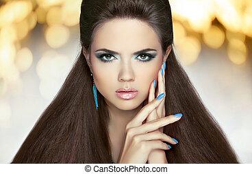 hermoso, morena, clavos, hair., maquillaje, largo, manicured...