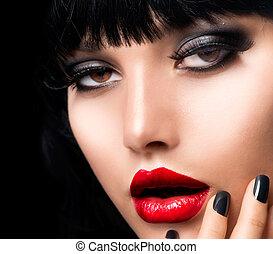 hermoso, morena, face., makeup., labios, portrait., sensual, niña, rojo