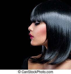 hermoso, morena, girl., belleza, mujer, con, cortocircuito, pelo negro