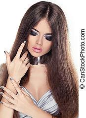 hermoso, morena, girl., sano, largo, hair., belleza, modelo, woman., peinado