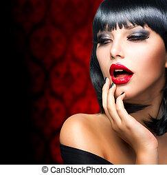 hermoso, morena, labios, portrait.makeup., niña, sensual, rojo