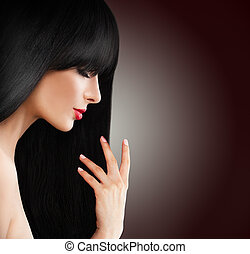 hermoso, morena, mujer, con, largo, sano, pelo, salón de belleza, plano de fondo