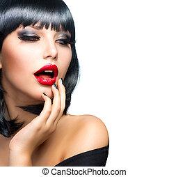 hermoso, morena, niña, retrato, encima, white., sensual, labios rojos