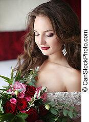 hermoso, morena, novia, retrato de la boda, tenencia, rosas, ramode flores