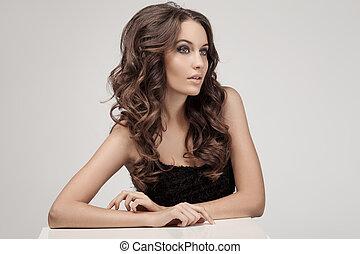 hermoso, morena, rizado, largo, hair., woman.