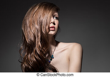 hermoso, morena, woman., sano, pelo largo