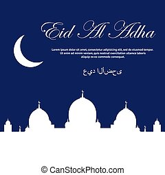hermoso, mubarak., texto, al, adha, diseño, eid