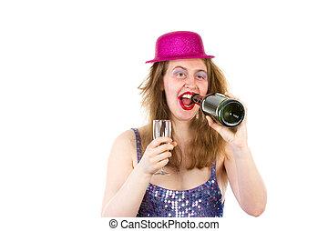 hermoso, mucho, bebida, partygirl, alcohol