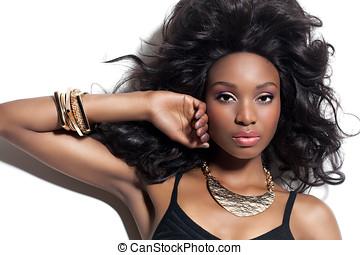 hermoso, mujer africana