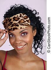 hermoso, mujer africana, en, máscara durmiente