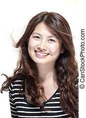 hermoso, mujer asiática