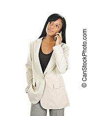 hermoso, mujer de negocios, negro, joven, teléfono