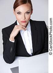 hermoso, mujer de negocios