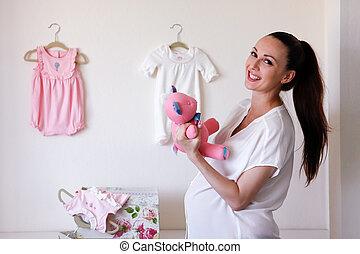 hermoso, mujer embarazada