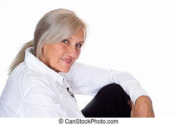 hermoso, mujer feliz, más viejo