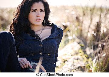 hermoso, mujer hispana