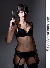 hermoso, mujer, joven, arma de fuego