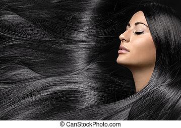 hermoso, mujer joven, con, sano, largo, brillante, pelo