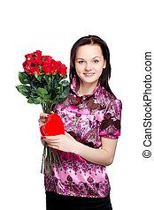 hermoso, mujer joven, con, un, ramo, de, rosas rojas