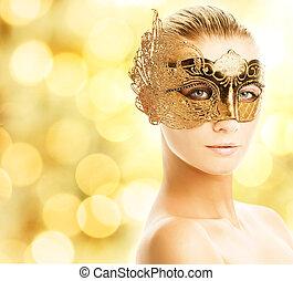 hermoso, mujer joven, en, máscara del carnaval