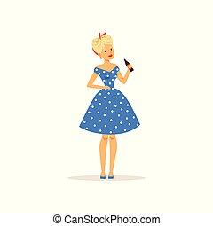 hermoso, mujer joven, en, un, azul, punto, vestido, sostener el cristal, botella, de, soda, niña, vestido, en, estilo retro, vector, ilustración