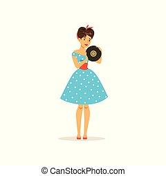 hermoso, mujer joven, en, un, azul, punto, vestido, tenencia, registro vinilo, niña, vestido, en, estilo retro, vector, ilustración