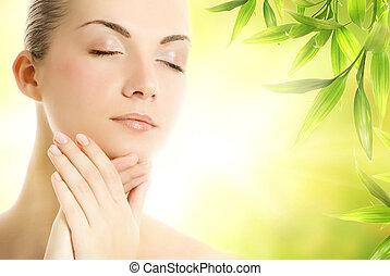 hermoso, mujer joven, ser aplicable, orgánico, cosméticos,...