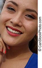 hermoso, mujer joven, sonriente