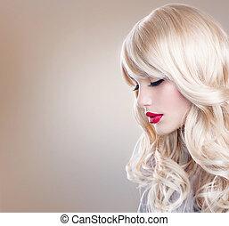 hermoso, mujer, largo, pelo, ondulado, retrato, rubio, rubio, niña