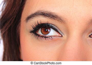 hermoso, mujer, ojo