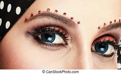 hermoso, mujer, ojo, Maquillaje