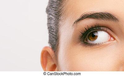 hermoso, mujer, ojo, primer plano