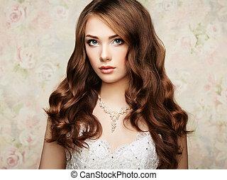 hermoso, mujer, peinado, foto, elegante, Vestido, boda, retrato, Moda,  sensual