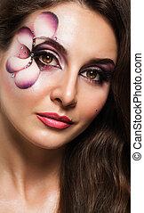 hermoso, mujer profesional, maquillaje, retrato