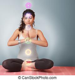 hermoso, mujer,  yoga, joven, ejercicio