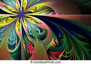 hermoso, multicolor, fractal, flower., colección, -, helado,...