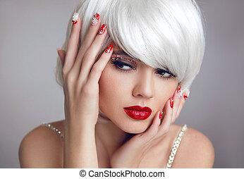 hermoso, nails., makeup., labios, rubio, niña, style., sensual, rubio, ojo, navidad blanca, rojo, mujer, hairstyle., primer plano, cortocircuito, shadow., manicured, portrait., mover, navidad, moda