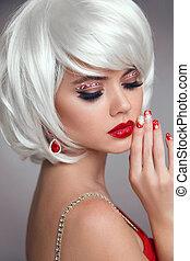 hermoso, nails., makeup., labios, rubio, rubio, style., sensual, ojo, navidad blanca, rojo, jewelry., mujer, hairstyle., primer plano, cortocircuito, shadow., manicured, portrait., mover, navidad, moda
