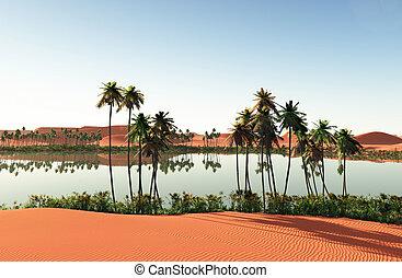 hermoso, natural, interpretación, oasis, plano de fondo, -african, 3d