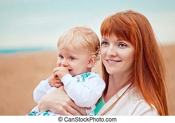 hermoso, naturaleza, madre, joven, niño, retrato